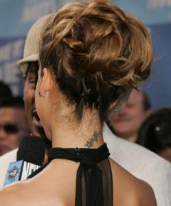 jessica alba tattoo neck flower